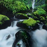 Boulder Elowah Falls Columbia River Gorge Nsa Oregon Art Print