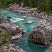 Boulder In The River - Slovenia Art Print
