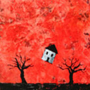 Bouncing House Fiery Sky Art Print