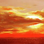 Bound Of Glory - Red Panoramic Sunset  Art Print