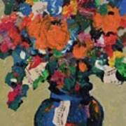 Bouquet-a-day #8 Original Mixed Media Painting On Canvas 70.00 Incl Shipping By Elaine Elliott Art Print