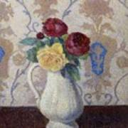 Bouquet De Roses Dans Un Vase 1885 Art Print