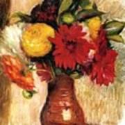 Bouquet Of Flowers In An Earthenware Pitcher Art Print