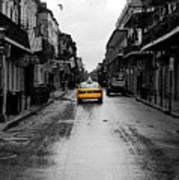 Bourbon Street Taxi French Quarter New Orleans Color Splash Black And White Watercolor Digital Art Art Print