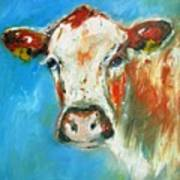 Bovine On Blue  Art Print