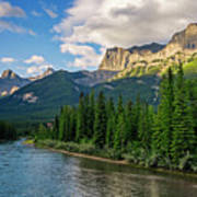 Bow River And Three Sisters Canmore Art Print