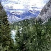 Bow River Valley In The Canadian Rockies Art Print