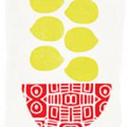 Bowl Of Lemons- Art By Linda Woods Art Print