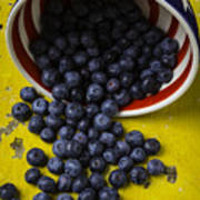Bowl Pouring Out Blueberries Art Print