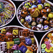Bowls Full Of Marbles And Dice Art Print