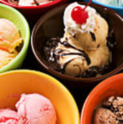 Bowls Of Different Flavor Ice Creams Art Print by Garry Gay