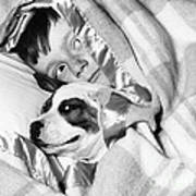 Boy And Dog Hiding Under Blanket Art Print