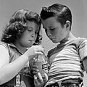 Boy And Girl Sharing A Soda, C.1950s Art Print