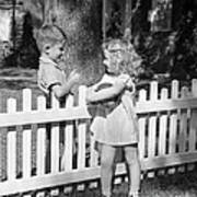 Boy And Girl Talking Over Fence, C.1940s Art Print