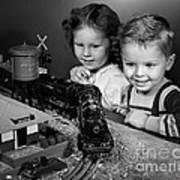 Boy And Girl With Train Set, C.1950s Art Print