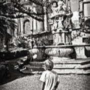 Boy At Statue In Sicily Art Print