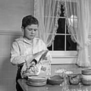 Boy Drying Dishes, C.1950s Art Print