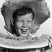 Boy Eating Watermelon, C.1940-50s Art Print