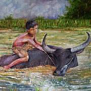 Boy In A Carabao Art Print