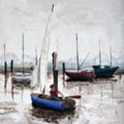 Boy In Blue Sailboat Art Print