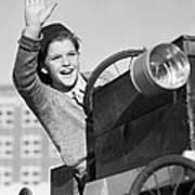 Boy In In Go-cart, C.1940-30s Art Print