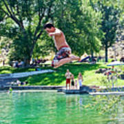 Boy Jumping Off The Board Into Dierkes Lake In Snake River Near Twin Falls-idaho   Art Print