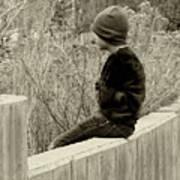 Boy On Fence - Sepia Art Print