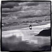 Boy On Shoreline Art Print
