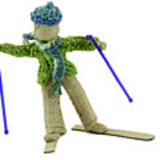 Boy Skiing In Burlap Crafts Art Print