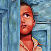 Boy Waiting At Door Art Print
