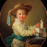 Boy With A House Of Cards                                   Art Print