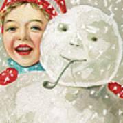 Boy With A Snowman Art Print