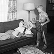 Boy With Baseball Vs. Napping Dad Art Print