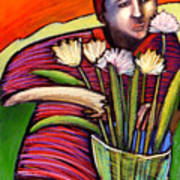 Boy With Flowers Art Print