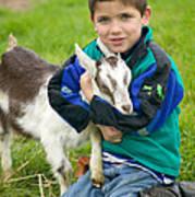 Boy With Goat Art Print