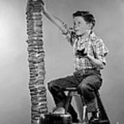 Boy With Huge Stack Of Toast, C.1950s Art Print