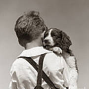 Boy With Puppy, C.1930-40s Art Print