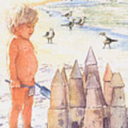 Boy With Sandcastle Print by Shawn McLoughlin