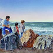 Boys And The Ocean Art Print