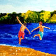 Boys By The River Art Print