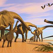 Brachiosaurus Beach Art Print