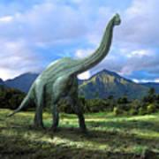 Brachiosaurus In Meadow Art Print by Frank Wilson
