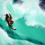 Brad Miller In Makaha Shorebreak Art Print