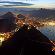 Brasil,rio De Janeiro,pao De Acucar,viewpoint,panoramic View,copacabana At Night Art Print