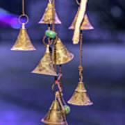 Brass Bells Hanging In The Illuminated Courtyard At Winter Night Art Print