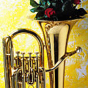 Brass Tuba With Red Roses Art Print