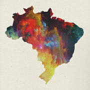 Brazil Watercolor Map Art Print