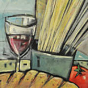 Bread Pasta Wine Art Print