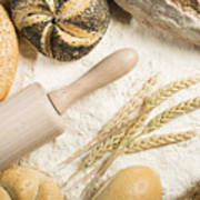 Breads. Pile Of Flour, Rolling Pin And Wheat Art Print