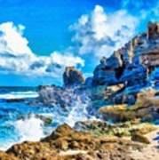 Breakers On The Rocks At Kenridgeview - On - Sea L A S Art Print
